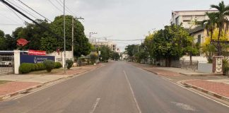 Deserted Samsenthai Rd During Covid-19 Lockdown