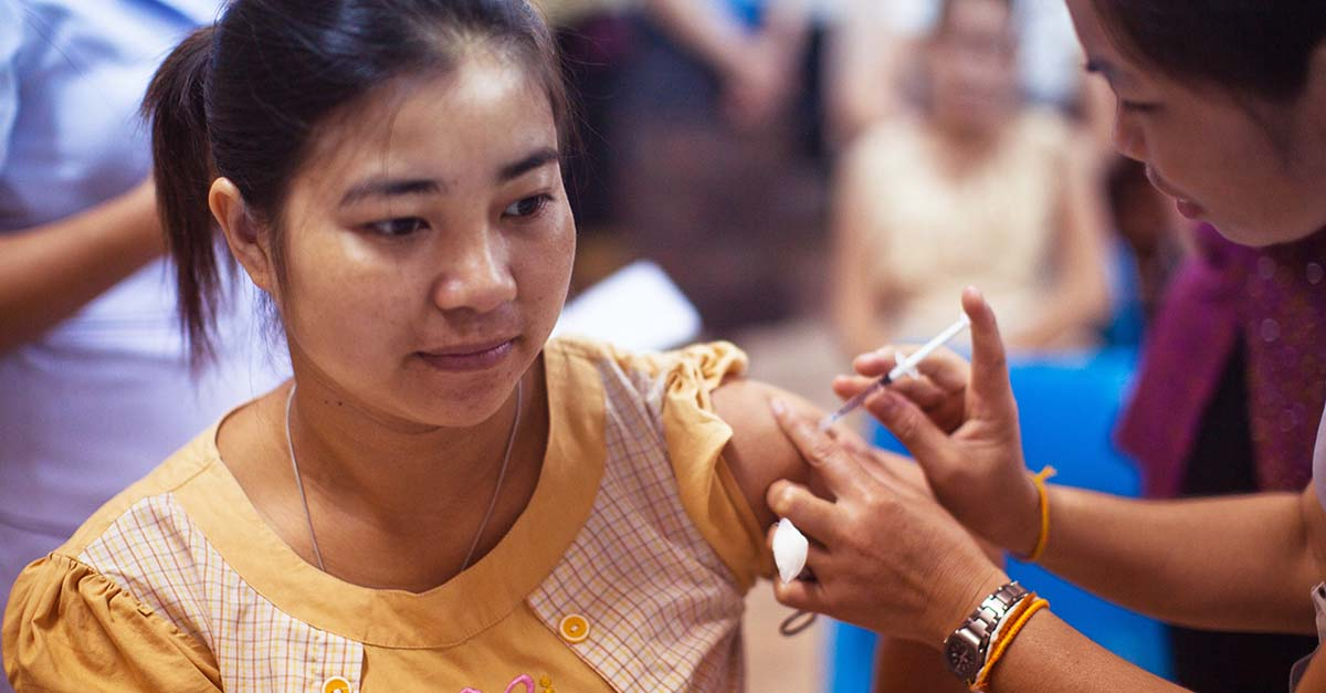 Woman receiving a vaccine at the Mother and Child Hospital in Vientiane, Laos