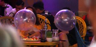Happy Balloons filled with Nitrous Oxide in Laos (Photo: Vietnamnet)