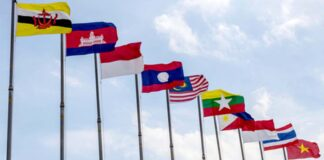 The flags of ASEAN