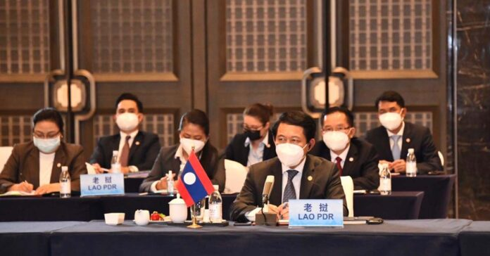 Lao foreign minister Saleumxay Kommasith attends ASEAN-China meeting