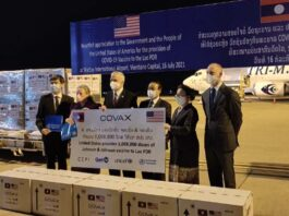 Over 1 Million Covid-19 Vaccines Donated by United States through COVAX Facility Arrive in Laos
