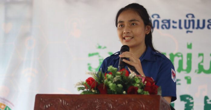 A youth volunteer speaking at the International Youth Day event organized by the Lao Youth Union with support from UNFPA.