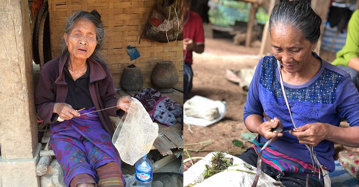 (Left) Mrs Yeuan, blind since she was a child, has economic empowerment because she can make a bag to be purchased as a fashion accessory in Spain. (Right) Mrs. Nai peals off the green shell holding the ribbon.