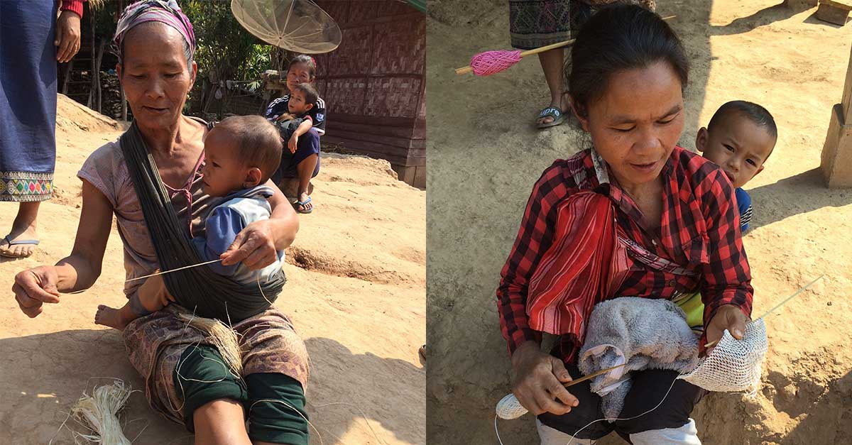 (Left) Mrs. Bua twists the vine ribbon into yarn by hands and legs while nurturing her infant. (Right) Mrs. Ping with baby son Kham on her back crafts a Nature Bag.